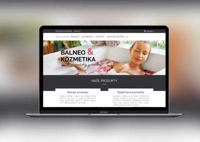 Moderná web stránka s eshopom pre kozmetiku a produkty z rašeliny